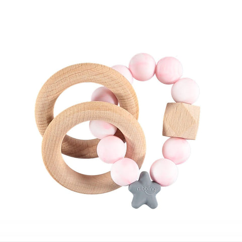 Nibbling London - Teething toy, Natural wood and silicone teether