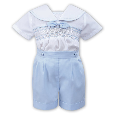 Sarah Louise - 2 piece set, shirt and shorts, white and pale blue, 011503