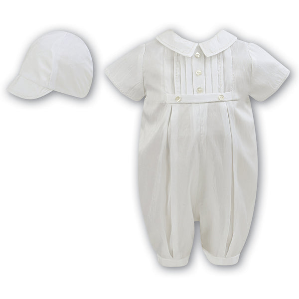 Sarah Louise - Boys Christening 2 piece set, romper and matching hat 002228