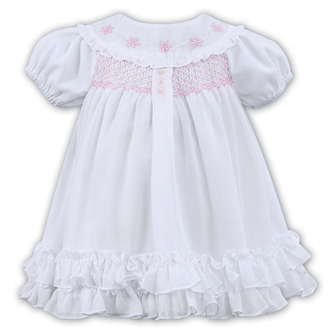 Sarah Louise - White dress hand smocked, 011462