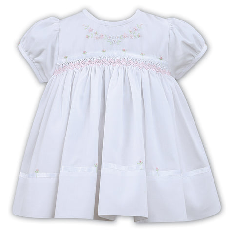 Sarah Louise - Hand smocked dress, white 011454
