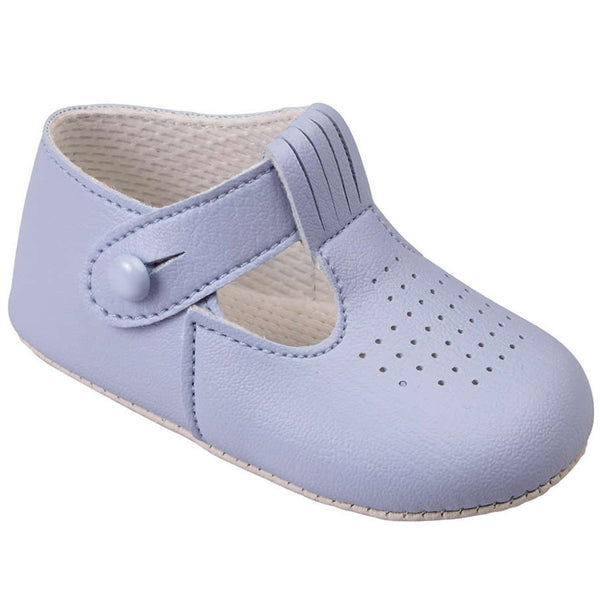Early Days -  Baby pram shoes, pale blue, B625