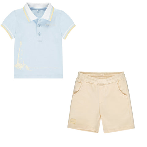 Mitch & Son boys 2 piece set Pale blue top, sand shorts   Bishop 2 piece set - shorts and polo tee shirt