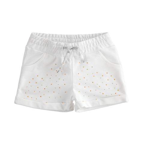 Ref: 4 2757  Girls white jersey shorts with gold sparkle detail  2 front pockets, 2 back pockets  Elasticated waist  100% cotton  Machine washable 30*