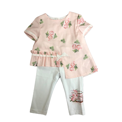 Beautiful Daga girls 2 piece set  peachy pink tunic top  asymmetrical  top with floral print  100% cotton  white jersey leggings with floral print on side of leg  92% cotton, 8% elastane  hand wash