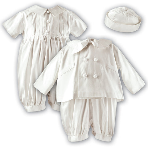 Sarah Louise - Boys Christening outfit, silk, ivory