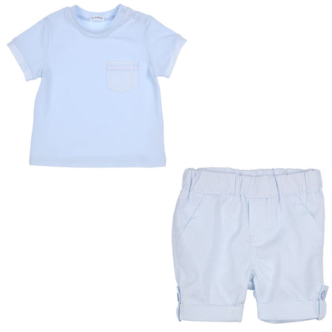 Ref: 353-1084-20  Boys top and shorts  Pale blue and white check shorts, elasticated waist with 2 front mock pockets, 1 back pocket, turn up hems  Front pocket on top in same fabric as shorts  Shorts - 100% cotton  Pale blue Top - main fabric 94% cotton. 6% elastane  Machine washable 30*