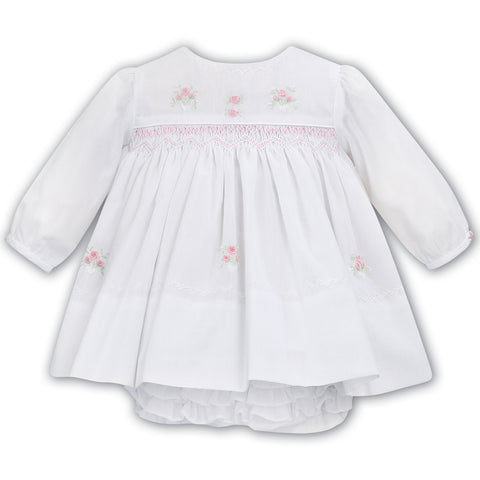 Sarah Louise - Hand smocked dress with pants, white, 012027