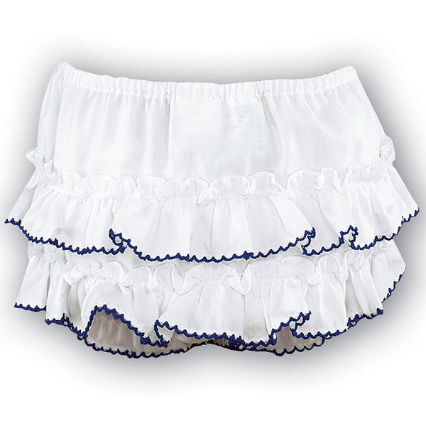 Sarah Louise - Frilly pants white/navy
