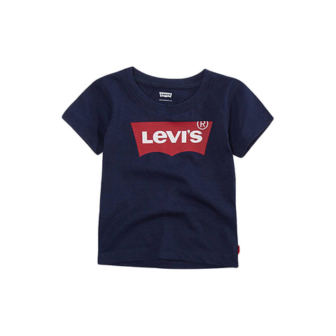 Ref: 6E8157-U09  Baby boys Levis navy tee shirt with signature red logo print  60% cotton 40% polyester  Machine washable 30*