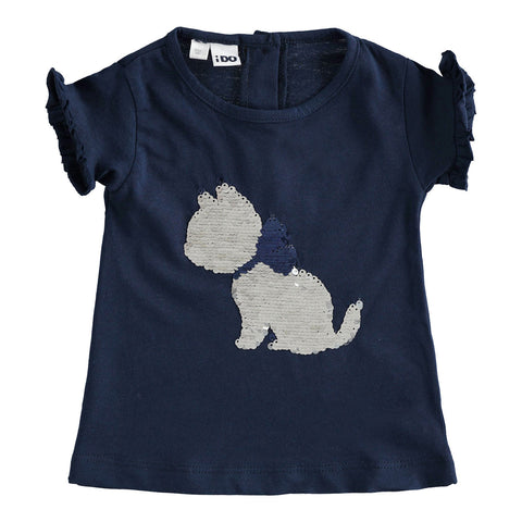 iDO - girls navy T-shirt with sparkle cat
