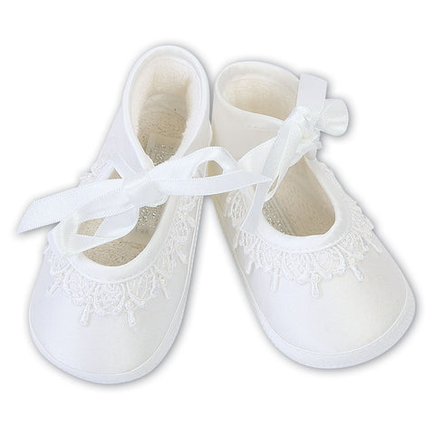 Sarah Louise  -  Baby white pram shoes, Christening shoes 004420