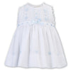 Sarah Louise - Hand smocked sun dress, white with pale blue detail 012245-2