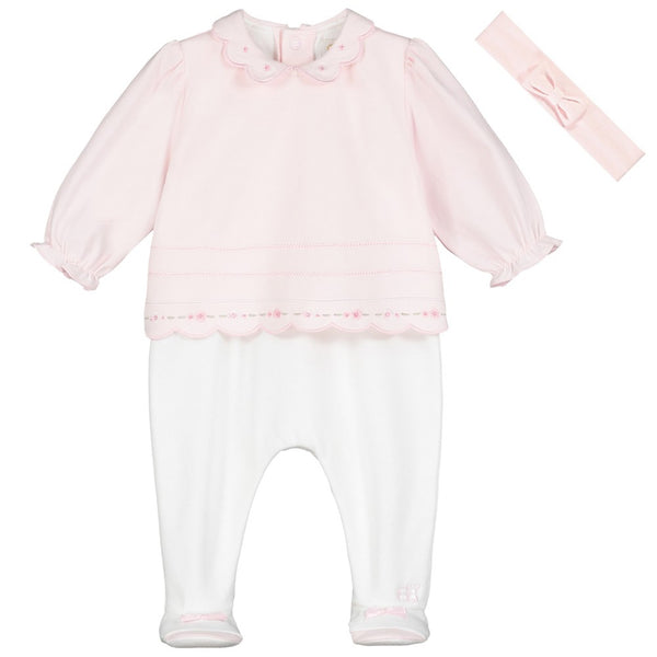 Emile et Rose - pink and white all in one with headband Teaghan