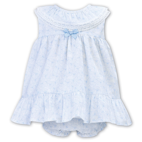 Sarah Louise - Pale blue and white A line sun dress with pants 012305