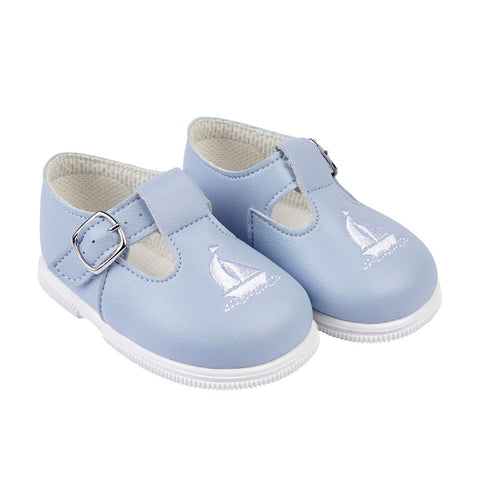 Early Days - Boys first walker shoes H512, pale blue boat