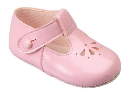 Early Days pink patent pram shoe B617