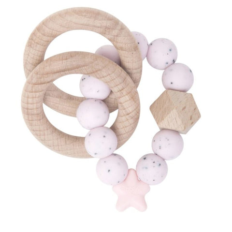 Nibbling London - Stellar natural wood rattle teething ring, pink speckled