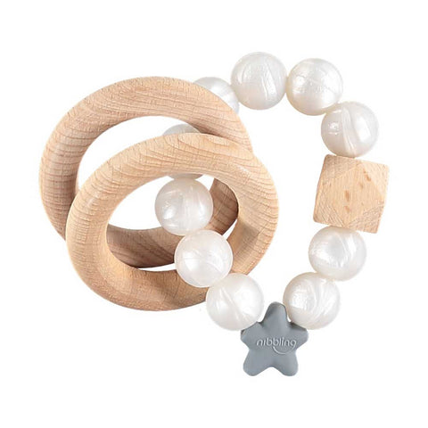 Nibbling London - Stellar natural wood rattle teething ring, pearl