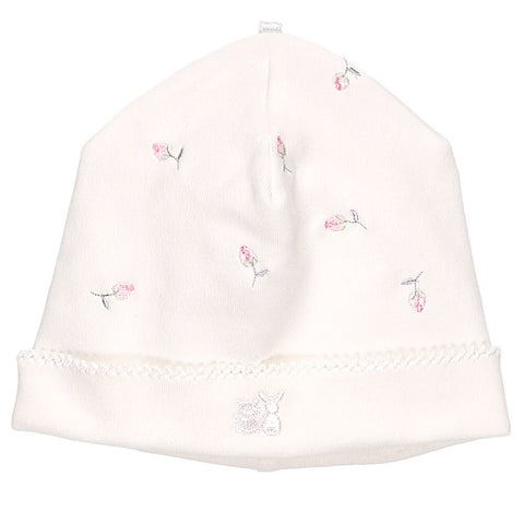 Emile et Rose- Romy White Rosebud Baby Pull-On Hat, 4763wh/19w