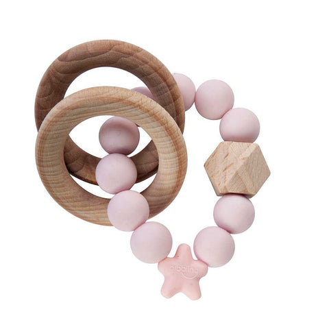 Nibbling - Stellar natural wood rattle teething ring, pink