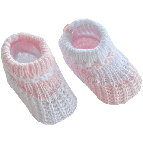 Soft Touch - cotton booties S419 pink/white