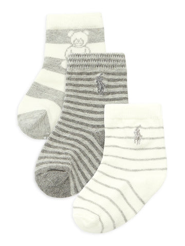 Ralph Lauren - 3pr pack grey/cream stripe