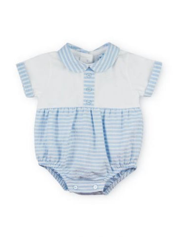 Sardon - Baby boy romper, white and pale blue stripe 020CO