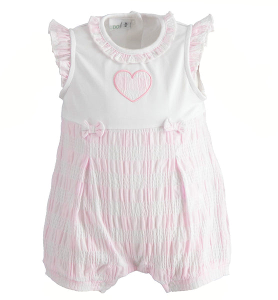 iDO - Baby romper, pink and white, 2146