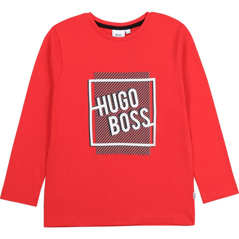 Boss - Long sleeved red tee shirt J25G31/988