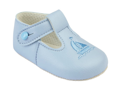 Early Days - Baby boys pram shoes B119 Sky blue