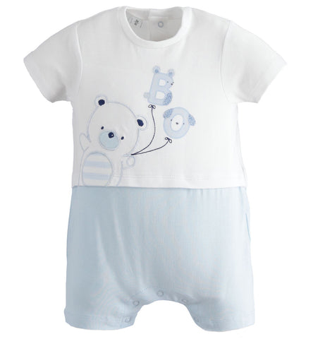 iDO - Baby romper,  white with pale blue bottom, 2101