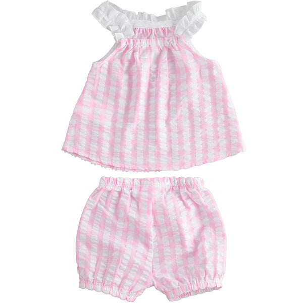 iDO - 2 piece,  pink /white shorts and top set, J652/00