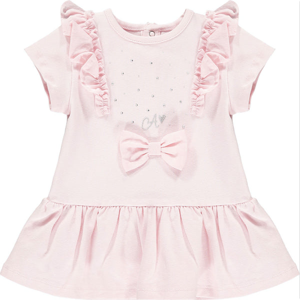 Little A Jainey  Part of the Romantic Flamingo Collection  Colour -  Baby Pink  Beautiful pink dress  Front sparkle detail and pink bow  Machine washable 30*