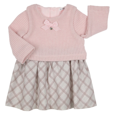 GYMP - Pink knit dress with fabric skirt