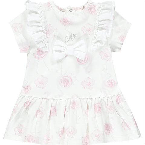 Little A dress  Flamingo collection  Colour - White  Beautiful dress with delicate shoulder ruffles and front bow  Machine washable 30*