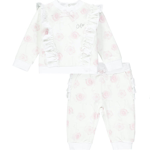 Little A tracksuit Jaqueline  Part of the Romantic Flamingo Collection  Colour - White with pink all over print  Fun frills on the back of the bottoms  Ruffle over the shoulders and down the front and back of the top  Machine washable 30* Little A sparkle logo on chest