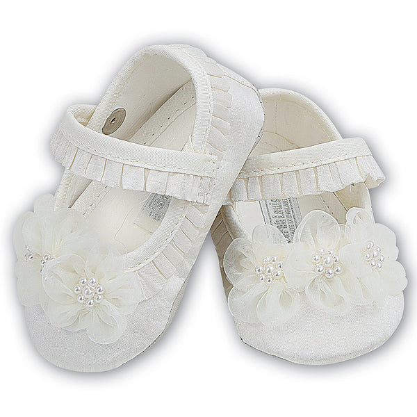 Sarah Louise  -  Baby ivory pram shoes, Christening shoes 004401