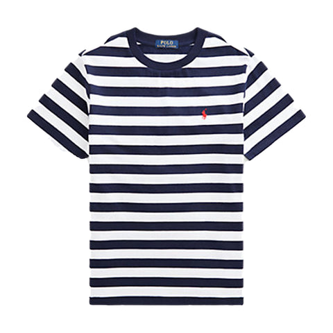 Boys Ralph Lauren navy and white stripe tee shirt  signature red polo pony on left chest  100% cotton  Machine washable 30*