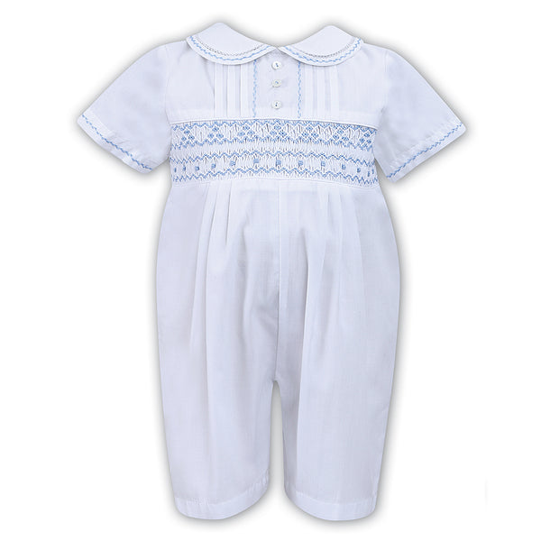 Sarah Louise - Handsmocked white romper with pale blue detail C6000