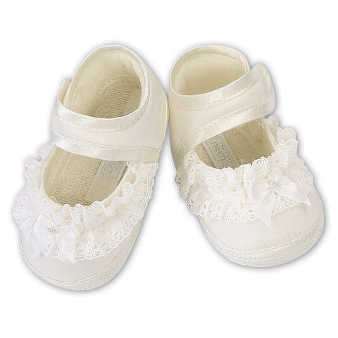 Sarah Louise  -  Baby ivory pram shoes, Christening shoes 004424