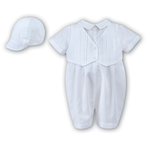 Sarah Louise - Romper with hat, white 00221OKS