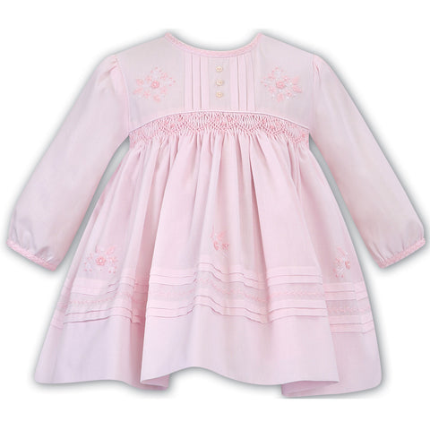Sarah Louise - Hand smocked dress, pink,  011618