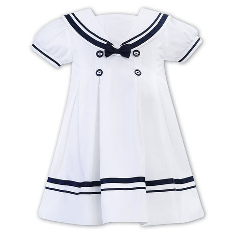 Sarah Louise - Dress sailor style, white with navy, 011880