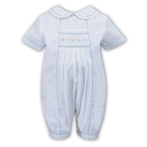 Sarah Louise - Hand smocked white romper with pale blue details C3000