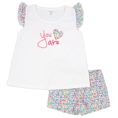 Rapife girls 2 piece short and t-shirt set ref: 5451  White top with needlework 'You are'  on front,  ruffle multi floral cap sleeves  Matching multi floral shorts  100% cotton  Machine washable 30*