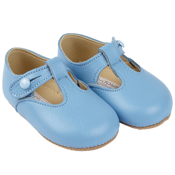 Early Days - Soft leather pram shoes, Alex, sky blue