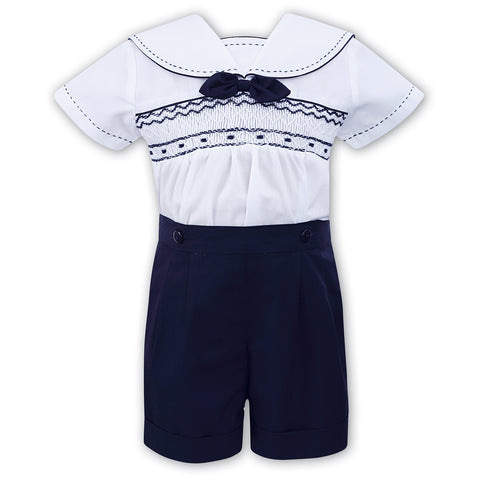 Sarah Louise - 2 piece set, navy and white, 011503