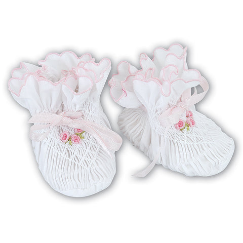 Sarah Louise - hand smocked bootees, White with pink trim, 004407