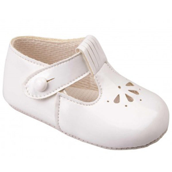 Early Days -  Baby pram shoes, white, B617
